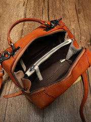 Small Fashion Leather Brown Red Box Handbag Shoulder Bag Cube Crossbody Purse For Women