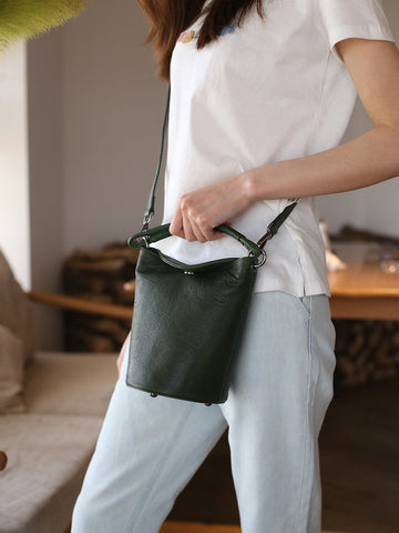 Small Womens Green Leather Bucket Handbag Vintage Brown Barrel Shoulder Bag Purses for Ladies