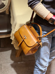 Vintage Red Ladies Leather Square Satchel Handbag Purse Brown SHoulder Bag Side Bag for WOmen