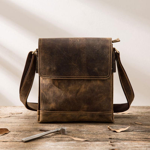 Small Leather Vintage Mens Cool Messenger Bags Shoulder Bags  for Men
