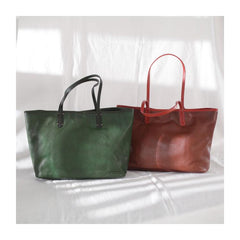 Fashion Womens Red Brown Soft Leather Zipper Tote Handbag Green Shopper Tote Bag Purse