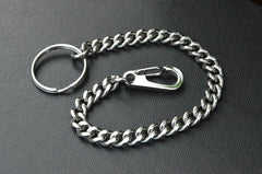 Cool Silver Brass Stainless Steel Mini Key Chain Wallet Chain Hanging Chain for Men