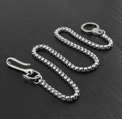 Cool Stainless Steel Mens Wallet Chain Silver Pants Chain Long Biker Wallet Chain For Men