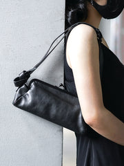 Stylish Womens Black Leather Long Doctor Shoulder Purse Black Doctor Crossbody Purses for Women