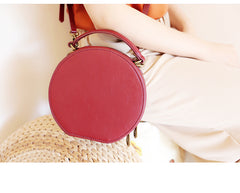 Stylish LEATHER WOMENs Circle Handbag Purse Round SHOULDER Purse for Women