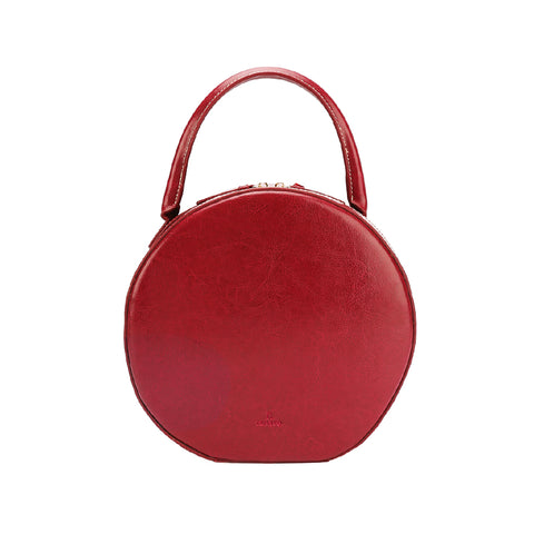 Stylish LEATHER WOMENs Circle Handbags Round SHOULDER BAG Purse FOR WOMEN