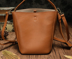 Stylish Leather Brown Gray Bucket Handbag Shoulder Bag Barrel Purse For Women