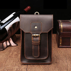 Vintage Brown Leather Men's Belt Pouch Cell Phone Holster Waist Bag For Men