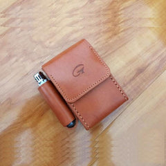 Cool Handmade Brown Leather Mens Cigarette Case with Lighter Holder Belt Loop for Men