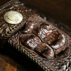 Handmade Leather Crocodile skin Biker Wallet Mens Cool Chain Wallet Trucker Wallet with Chain