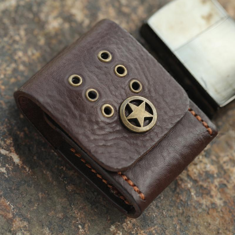 Cool Mens Leather Zippo Lighter Case with Loop Leather Zippo lighter Holder with Clip