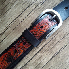 Handmade Genuine Leather Tooled Eagle Mens Leather Men Belt for Men Cool Leather Belt