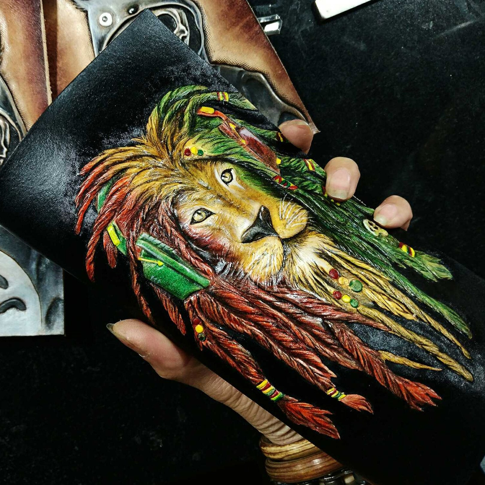Handmade Leather Lion Tooled Mens Long Wallet Cool Leather Wallet Clutch Wallet for Men