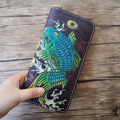 Handmade Leather Carp Tooled Mens Long Wallet Cool Leather Wallet Clutch Wallet for Men