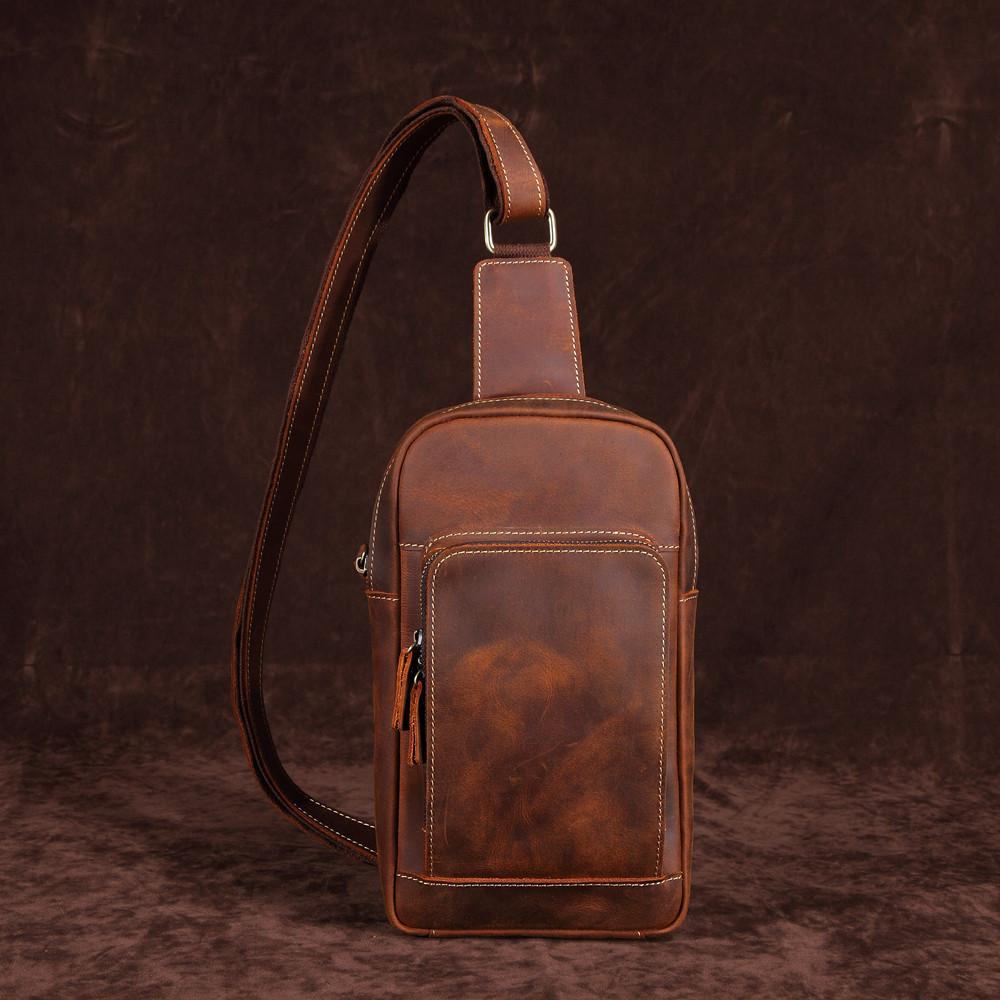 Casual Leather One Shoulder Backpack Chest Bag Sling Bag Sling Crossbody Bag For Men