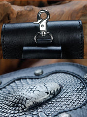 Cool Leather Mens Snake Biker Belt Pouch Waist Bag Drop Leg Bag for Men