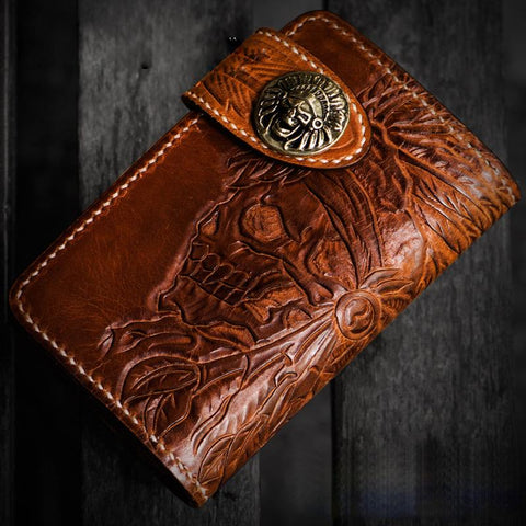 Handmade Leather Tooled Skull Indian Chief Biker Wallets Mens Cool billfold Chain Wallet Trucker Wallet with Chain