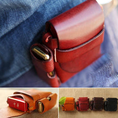 Handmade Brown Leather Mens Cigarette Case Cigarette Holder Belt Pouch with Belt Loop for Men