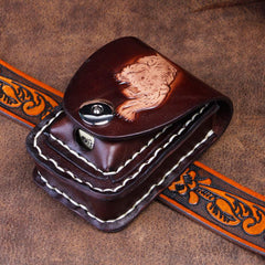 Cool Leather Mens Engraved Tiger Cigarette Holder Cases lighter Holder for Men