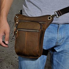 Biker Mens Leather Drop Leg Bag Waist Bag Side Bags Belt Pouch Pack for Men