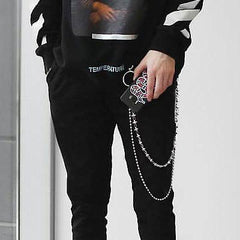 Stylish Men's Womens Double Beaded Stainless Steel Pants Chain Biker Wallet Chain For Men