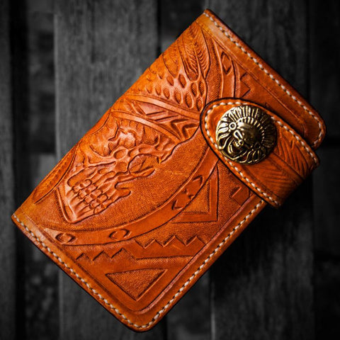 Handmade Leather Skull Indian Chief Tooled Mens billfold Wallet Cool Chain Wallet Biker Wallet for Men