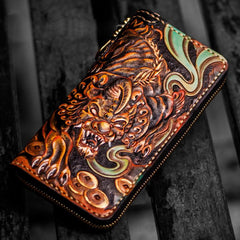 Handmade Leather Mens Tooled Monster Chain Biker Wallets Cool Leather Clutch Wallets Long Wallets for Men