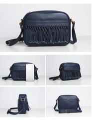 Cute Leather Womens Small Tassels Crossbody Bag Purse Cute Shoulder Bag for Women