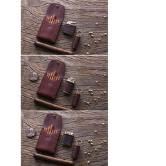Handmade Wooden Coffee Leather Mens 10pcs Cigarette Case Cool Custom Cigarette Holder for Men