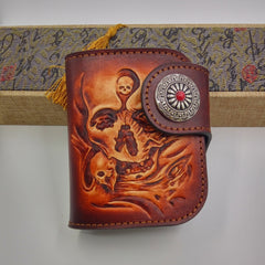 Handmade Leather Tooled Skull Prajna Mens Chain Biker Wallet Cool Leather Wallet Small Wallets for Men