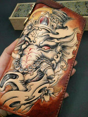 Handmade Leather Mens Clutch Wallet Cool GANESHA Tooled Chain Wallet Biker Wallets for Men