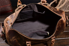 Leather Mens Weekender Bag Vintage Coffee Travel Bag for men