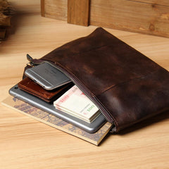 Vintage Leather Mens Wristlet Wallet Handmade Zipper Clutch Wallet for Men