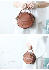 Cute Leather Womens Stylish Circle Crossbody Bag Purse Round Shoulder Bag for Women