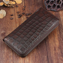 Genuine Leather Mens Cool Long Leather Wallet Zipper Clutch Wallet for Men