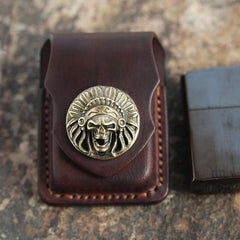 Cool Mens Leather Indian Zippo Lighter Cases with Loop Zippo lighter Holder with clips