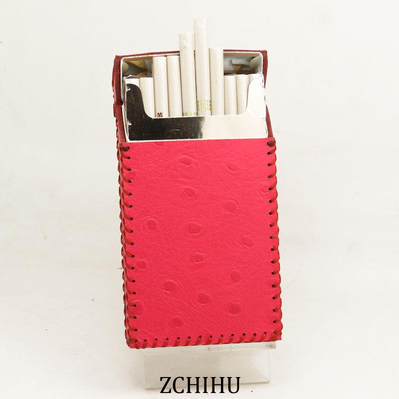 Cute Handmade Leather Womens Pink Black Cigarette Holder Case for Women