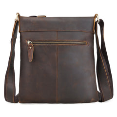 Genuine Leather Vintage Cool Small Shoulder Bag Messenger Bag Crossbody Bag for men