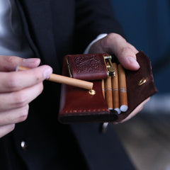 Handmade Wooden Coffee Leather Mens 20pcs Cigarette Case Cool Custom Cigarette Holder for Men