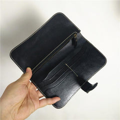 [On Sale] Handmade Vintage Mens Leather Long Wallets Bifold Long Wallet for Men