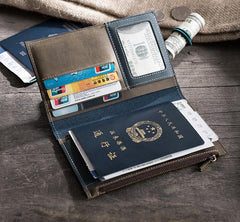 Handmade Leather Mens Travel Wallet Passport Leather Wallet Short Long Wallets for Men