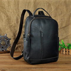 Genuine Leather Mens Cool Black Backpack for School Travel Bag Hiking Bag For Men