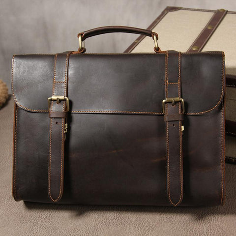 Leather Vintage Mens Briefcase Messenger Bag Work Bags Business Bag for Men
