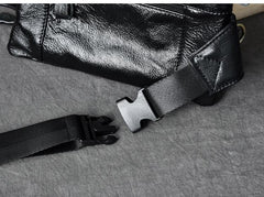 Black Leather Fanny Pack Mens Waist Bag Hip Pack Belt Bag for Men