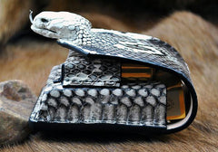Cool Leather Mens Snake Cigarette Case Cigarette Holder Belt Pouch with Belt Loop for Men