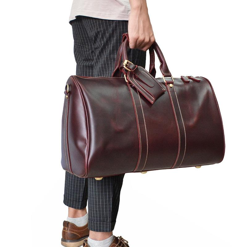 13bbc6d1a Previous. Next. $169.00$169.00. No reviews. Overview:. Design: Genuine Leather  Mens Cool Weekender Bag Travel Bag Duffle Bags Overnight Bag Holdall ...