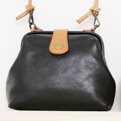 Vintage Womens Black Leather Mini Doctor Shoulder Purses Black Doctor Crossbody Purses for Women