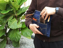 Cool Blue Jean Mens Clutch Bag Wristlet Bag Wallet Zipper Clutch Wallet For Men