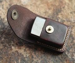 Cool Mens Leather Zippo Lighter Cases with Loop Zippo lighter Holder with clip