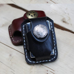 Cool Zippo Leather Lighter Pouch with Loop Biker Leather Zippo lighter cases with Clip